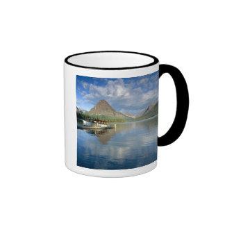 Tour Boat Docked at Two Medicine Lake in Glacier Ringer Coffee Mug