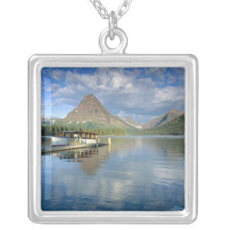 Tour Boat Docked at Two Medicine Lake in Glacier Silver Plated Necklace
