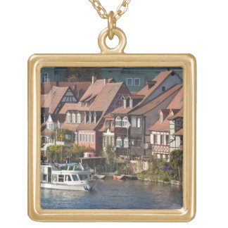 Tour boat in Little Venice and River Regnitz Gold Plated Necklace