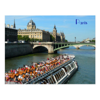Tour Boat on the Seine River in Paris Postcard