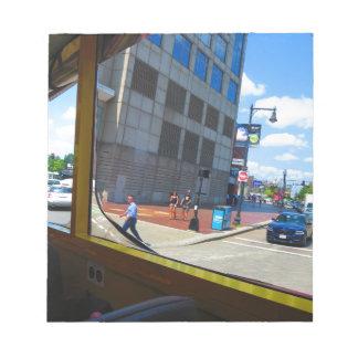 Tour Bus Window views of Boston City America USA Notepad
