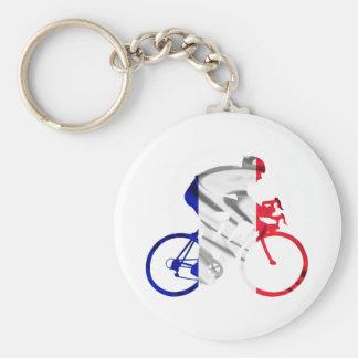 Tour de france cyclist basic round button keychain