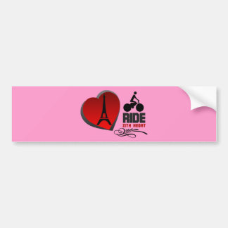 Tour De France Paris Heart Bumper Sticker