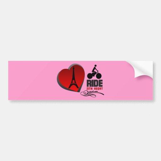 Tour De France Paris Heart Bumper Sticker