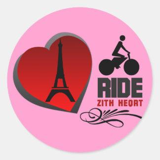 Tour De France Paris Heart Classic Round Sticker