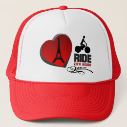 Tour De France Paris Heart Trucker Hat