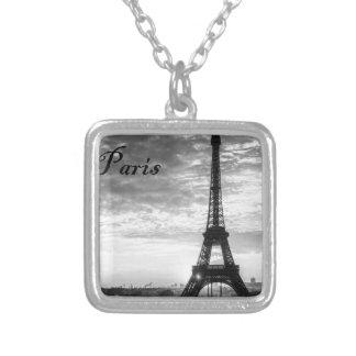 Tour Eiffel Paris - Sunset in Black & White (St.K) Silver Plated Necklace