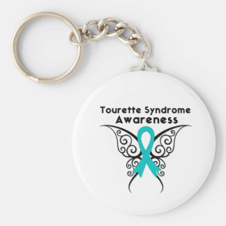 Tourette Syndrome Awareness Tattoo Butterfly Basic Round Button Keychain