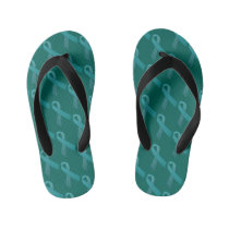Tourette's Syndrome Awareness Teal Ribbon Kid's Flip Flops