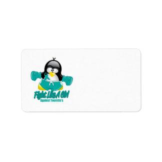 Tourette's Syndrome Fighting Penguin Address Label