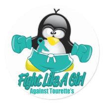 Tourette's Syndrome Fighting Penguin Classic Round Sticker