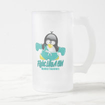 Tourette's Syndrome Fighting Penguin Frosted Glass Beer Mug