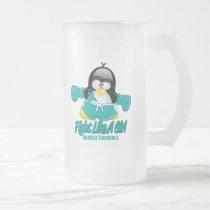 Tourette's Syndrome Fighting Penguin Frosted Glass Beer Mug