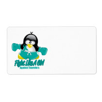 Tourette's Syndrome Fighting Penguin Label