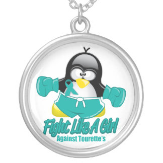 Tourette's Syndrome Fighting Penguin Round Pendant Necklace