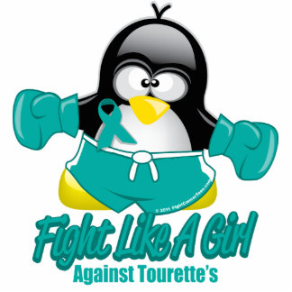 Tourette's Syndrome Fighting Penguin Standing Photo Sculpture