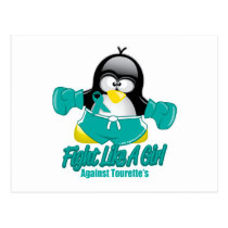 Tourette's Syndrome Fighting Penguin Postcard