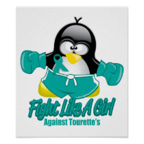 Tourette's Syndrome Fighting Penguin Poster