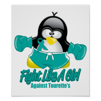Tourette's Syndrome Fighting Penguin Poster