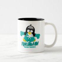 Tourette's Syndrome Fighting Penguin Two-Tone Coffee Mug