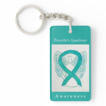 Tourette's Syndrome Ribbon Guardian Angel Keychain