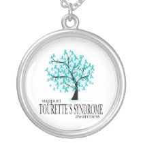 Tourette's Syndrome Tree Silver Plated Necklace