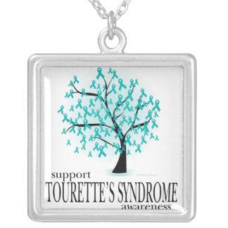 Tourette's Syndrome Tree Square Pendant Necklace