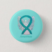 Tourette's (TS) Awareness Ribbon Teal Angel Pin