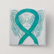 Tourette's (TS) Awareness Ribbon Teal Angel Pin