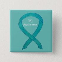 Tourette's (TS) Awareness Ribbon Teal Custom Pin