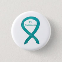 Tourette's (TS) Awareness Ribbon Teal Custom Pin