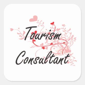 Tourism Consultant Artistic Job Design with Hearts Square Sticker