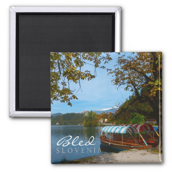 Tourist boats in Lake Bled in autumn Magnet
