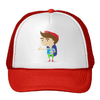 Tourist boy backpacker Red Hat