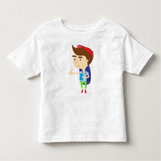 Tourist boy backpacker T-shirt