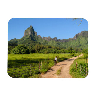 Tourist cycling on Moorea rectangular magnet