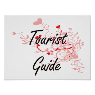 Tourist Guide Artistic Job Design with Hearts Poster