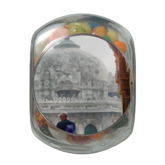 Tourist in gateway glass jar