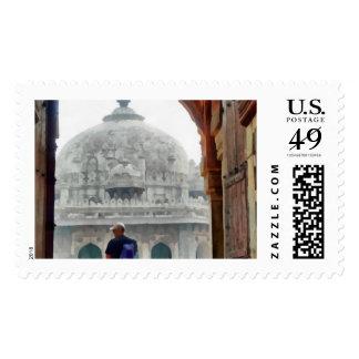 Tourist in gateway postage