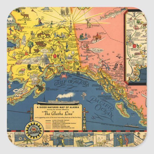 Tourist Map of Alaska from the Past Square Sticker
