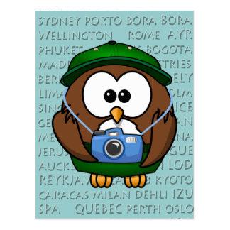 tourist owl - boy postcard