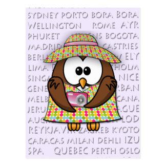tourist owl - girl postcard
