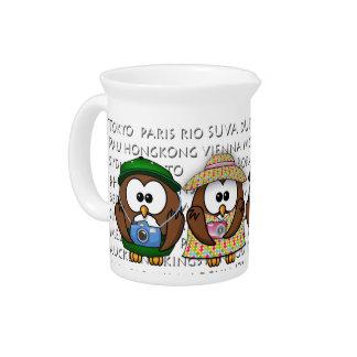 tourist owls girl 'n boy beverage pitchers