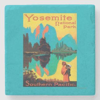 Tourist Poster - Yosemite Nat'l Park, CA Stone Coaster