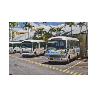 Tourist Shuttle Buses Wrapped Canvas