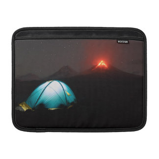 Tourist tent at night on background of volcanoes sleeve for MacBook air