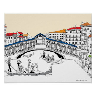 Tourist Traveling in Boats Poster
