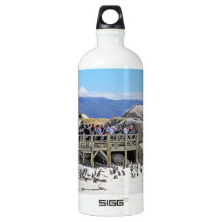 Tourists at Boulders Beach looking at penguins Aluminum Water Bottle