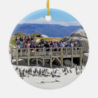 Tourists at Boulders Beach looking at penguins Ceramic Ornament