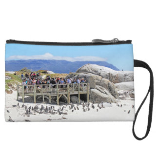 Tourists at Boulders Beach looking at penguins Suede Wristlet Wallet